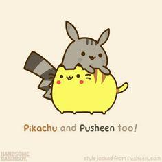 Pikachu and Pusheen too!, text, cute, Pikachu, Pusheen, Pokémon, crossover; Anime