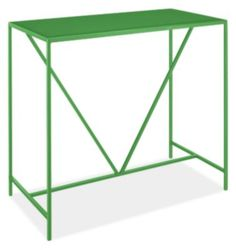 Modern Slim Outdoor Bar Table In Green 24d 48w 42h Metal