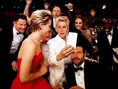 dutchster:  hemonizer:  So many things happening in this gif: JLaw sitting on Meryl Streep's lap Bradley desperately wanting to take the selfie himself Ellen accidentally checking Jennifer's boobsout Brad Pitt and Lupita's bro head collision [x]  HOW DID I NOT NOTICE THE HEAD BUMP