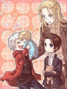 Hetalia child Prussia, baby Germany, Germania, and child Austria. This is too cute for words.