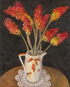 Red Hot Pokers by Lucy Culliton, 2018. Oil on board. Carrot Flowers, Plastic Jugs, Flannel Flower, Melbourne Art, Glass Vessel, Day Lilies, Red Berries, Chrysanthemum, Art Fair
