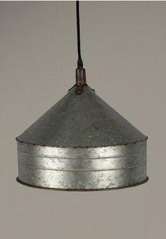 Watering Pail Pendant Light Galvanized Fixture