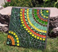 Green Stepping Stone by GardenDivaDeb, via Flickr - do with paint instead of mosaic (add the glass gems for interest) http://www.flickriver.com/photos/gardendivadeb/popular-interesting/