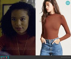 Forever 21 Ribbed Mock Neck Bodysuit worn by Rosalind Walker (Jaz Sinclair) on Chilling Adventures of Sabrina Witch Fashion, Fashion Tv, Fashion Outfits, Jaz Sinclair, Striped Turtleneck, Other Outfits, Rag And Bone, Mock Neck, Chilling