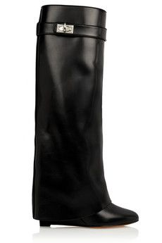 Givenchy Shark Lock wedge knee boots in black leather | NET-A-PORTER