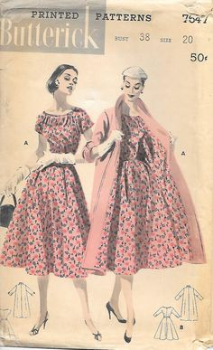 Butterick 7647 - 1950s Dress and Coat Sewing Pattern, by GrandmaMadeWithLove