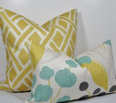 Lumbar sized cover from Designer Kravet Echo Home Collection. Colors in this large scale floral include turquoise , sunshine yellow, light gray, and Turquoise Throw Pillows, Yellow Pillows, Grey Pillows, Pillow Fabric, Lumbar Pillow, Turquoise Duvet Cover, Textiles, Gray Bedroom, Master Bedroom