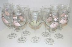 Bridal Gown and Bridesmaid Dresses Hand Painted on Set of 11 Wine Glasses - Great for Wedding Party by GlassArt for $120.00