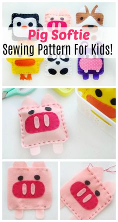 Make your own pig softie! A simple sewing project for kids using scrap felt and a needle and thread! Such a sweet and simple way to make your own stuffed animal! Animal Sewing Patterns, Sewing Patterns For Kids, Sewing For Kids, Diy For Kids, Sewing Classes For Kids, Bear Patterns, Sewing Lessons, Sewing Diy, 4 Kids