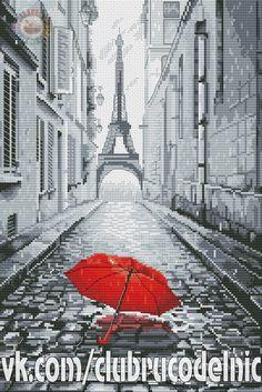 Czerwona Parasolka na Ulicach Paryża