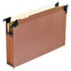 "Desk Supplies>Desk Set / Conference Room Set>Holders> Files & Letter holders: 3 1/2"" Hanging File Pockets with Swing Hooks, 1/5 Tab, Legal, Red, 5/Box"