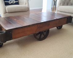 restored original vintage lineberry factory cart coffee table