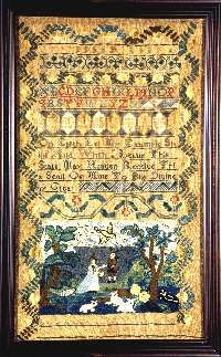 """Antique sampler, silk embroridery, needlework picture, tapestry, canvaswork pictrue. Sarah Doubt wrought this sampler in the 10 year of her Age 1765. Silk on linen; 19 7/8"""" x 11."""