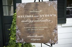 one of my favorite elegant welcome signs... on wood #signs Wedding Beauty, Chic Wedding, Blue Wedding, Wedding Events, Wedding Bells, Wedding Styles, Wedding Art, Wedding Photos, Wedding Things