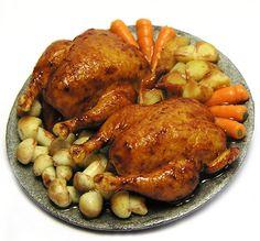 1:12th scale miniature Roast chicken platte by Kiva's Miniatures