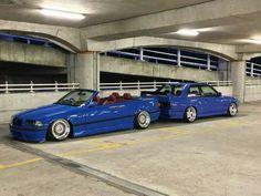 BMW E36 M3 cabrio blue slammed and E30 M3 blue