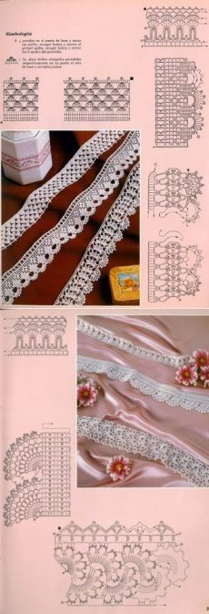 This post was discovered by δη Crochet Boarders, Crochet Lace Edging, Crochet Diagram, Filet Crochet, Knit Crochet, Lace Patterns, Stitch Patterns, Crochet For Dummies, Tunisian Crochet Patterns
