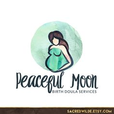 Pregnant Mother Logo Design, Pregnant Woman, Moon Logo, Prenatal Yoga, Childbirth Logo, Doula Logo, Prenatal Logo, Midwife Logo
