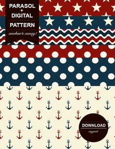 Printable Scrapbook patterns. Fourth of July, 4th of July, Independence Day, Red White and Blue, Flag.