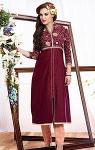 stylish maroon long kurti