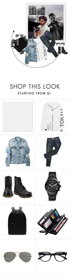 """""""Geen titel #34683"""" by lizmuller ❤ liked on Polyvore featuring UEG, Balmain, Acne Studios, Dr. Martens, FOSSIL, Lacoste, Parasol, EyeBuyDirect.com, men's fashion and menswear"""