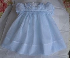The Old Fashioned Baby Sewing Room: Blue Baby Dress is from Emma's Smocked Baby Dresses.  Click for more views