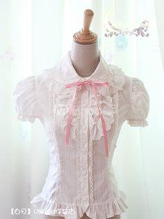 Sweet White Cotton Short Sleeve Lolita Shirt - Milanoo.com