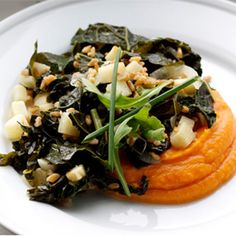 Farro With Sweet Potatoes, Braised Kale and Celery Root