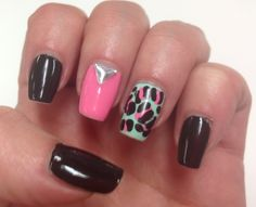 Black, mint and pink nails inspired by @noemihk