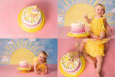 First Birthday Theme Girl, 1st Birthday Cake Smash, Birthday Cake Girls, Baby Birthday, First Birthday Parties, Birthday Ideas, Sunshine Birthday Cakes, Sunshine Cake, Smash Cake Girl