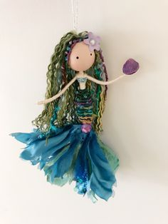 Coming soon to the shop Fairy Crafts, Doll Crafts, Cute Crafts, Decor Crafts, Diy And Crafts, Crafts For Kids, Arts And Crafts, Mermaid Ornament, Mermaid Crafts