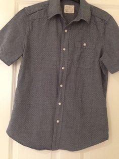 Men's Casual Shirt Small Button Front 100% Cotton Gray color Short Sleeve  | eBay