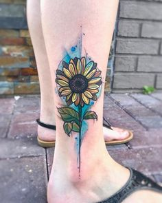 Swanky Watercolor Sunflower Leg Tattoo