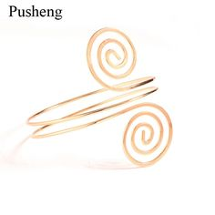 Pusheng Fashion Women Arm Bracelet Lady Personality Punk Gothic Hip Hop Bangles Upper Gold  Upper Arm Cuff Armlet Bangle
