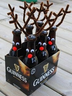 I know what all my friends are getting for the holidays! A pack of beer with googly eyes, pipe cleaners, and a fuzzy ball!