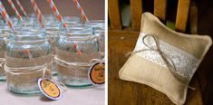 Burlap wrapped mason jars | via Woodsy Ringbearer pillow | via More Like Home  #wedding #rustic #burlap