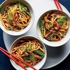 Lo Mein with Mushrooms and Snow Peas | The great thing about this lo mein is that you can use fresh linguine or spaghetti to replicate the terrific chewy texture of the Chinese takeout classic.