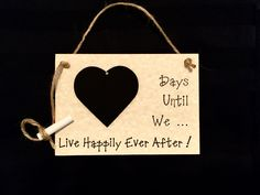 """Engagement gift. Countdown To Wedding, """"Days Until..We Live Happily Ever After!"""" (Parchment) Wedding Countdown. Gift For Couple. by CountdownChalkboards on Etsy"""