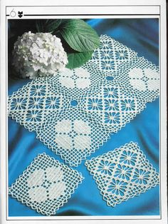 Lovely Flower & Spider lacy squares Filet crochet placemat ~~ Decorative Crochet Magazines 19 - Gitte Andersen - Picasa Web Albums