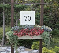 Our House Number Sign with flower box, it adds great curb appeal!