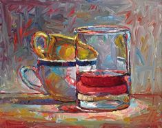 """Two Cups and a Cranberry Juice Cocktail"" - Original Fine Art for Sale - © Raymond Logan"