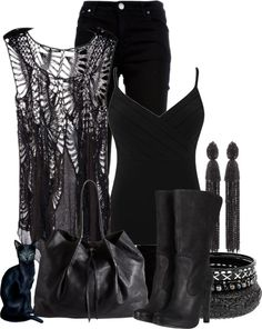 """""""Pretty In Black"""" by katc ❤ liked on Polyvore"""
