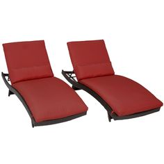 TKC Bali Chaise Lounge Chair Set of 2 Outdoor Wicker Patio Furniture, Terracotta