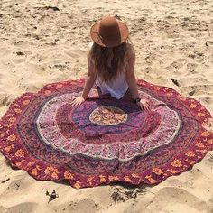 Bohemian Style Thin Chiffon Beach Yoga Towel Mandala Round Bed Sheet Tapestry Tablecloth Silk Scaf #DesignerBedSheets