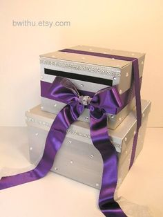 Silver and Purple Wedding Card Box, this is so pretty!!! And probably not to hard to make lol