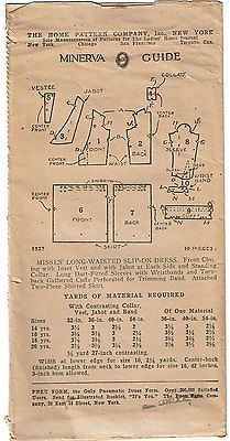 1920s VTG Ladies Home Journal Sewing Pattern 5527 FF Misses Flapper Dress Sz 34B