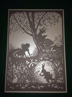 Alice in wonderland unframed paper cut designed by Bramble Crafts, handcut by KnittyKnottyCrafts