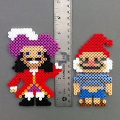 Captain Hook Perler Beads Magnet Peter Pan pirate by HarmonArt2