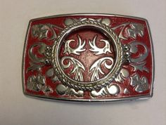 Stunning Red & Silver Vintage Belt Buckle by EmbracetheEarth, $8.00
