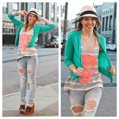 Teresa is wearing Charlotte Russe cardigan, skull tee, skinny jean, wooden wedges and fedora from the Bloom 2 Collection.